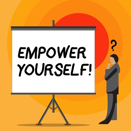 Writing note showing Empower Yourself. Business concept for taking control our life setting goals and making choices Businessman with Question Mark Above his Head Blank Screen Stock Photo