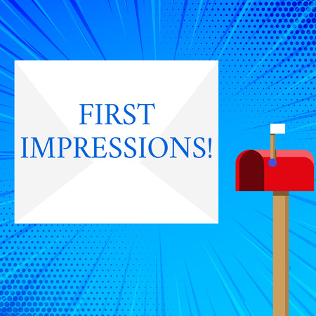 Handwriting text First Impressions. Conceptual photo idea feeling or opinion about something or someone Blank Big White Envelope and Open Red Mailbox with Small Flag Up Signalling