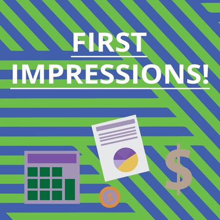 Word writing text First Impressions. Business photo showcasing idea feeling or opinion about something or someone Computing Dollar Investment in Gold and Presenting Data thru Pie Chart Graph