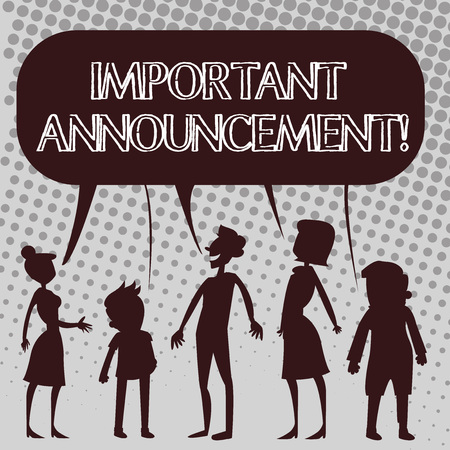 Handwriting text Important Announcement. Conceptual photo A significant public notification or declaration Silhouette Figure of People Talking and Sharing One Colorful Speech Bubble