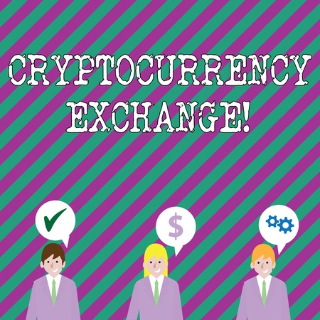 Text sign showing Cryptocurrency Exchange. Business photo showcasing business allows customers to trade cryptocurrencies Businessmen Each has their Own Speech Bubble with Optimization Cost Icons Reklamní fotografie