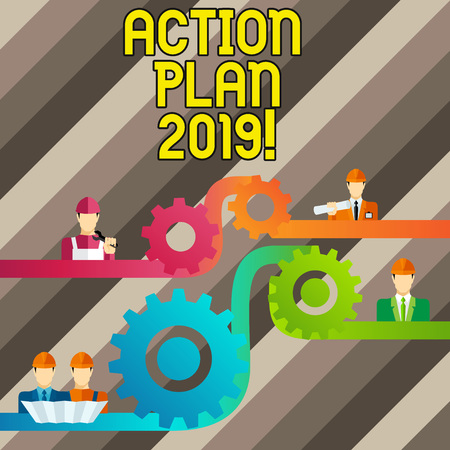 Conceptual hand writing showing Action Plan 2019. Concept meaning proposed strategy or course of actions for current year Cog Gear Setting Icon Connect Men from Different Character