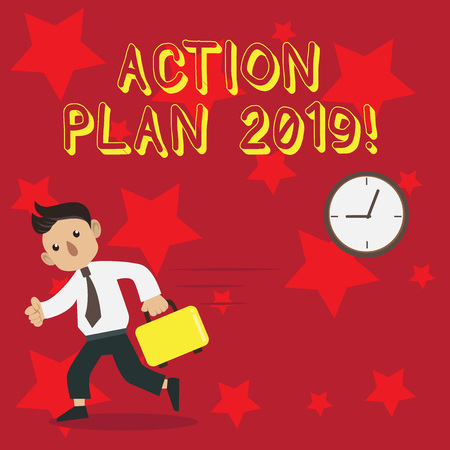 Conceptual hand writing showing Action Plan 2019. Concept meaning proposed strategy or course of actions for current year Man Carrying Briefcase Walking Past the Analog Wall Clock