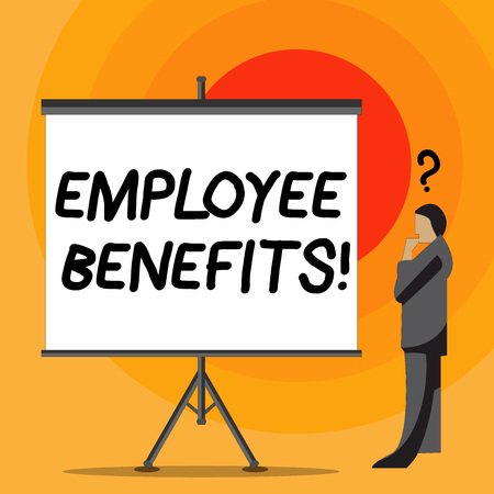 Writing note showing Employee Benefits. Business concept for indirect and non cash compensation paid to employee Businessman with Question Mark Above his Head Blank Screen Reklamní fotografie
