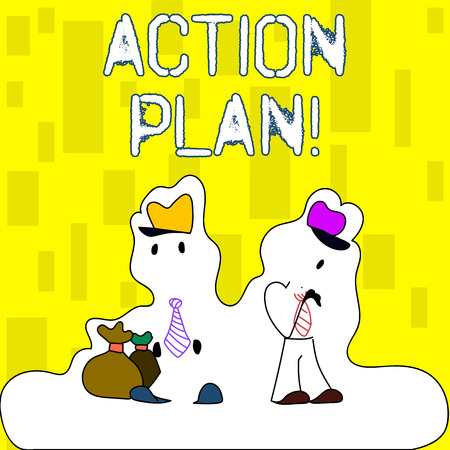 Handwriting text writing Action Plan. Conceptual photo proposed strategy or course of actions for certain time Figure of Two Men Standing with Pouch Bag on White Sticker Style Snow Effect