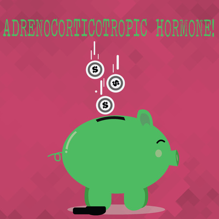 Handwriting text Adrenocorticotropic Hormone. Conceptual photo hormone secreted by pituitary gland cortex Color Piggy Bank Sideview and Dollar Currency Coins Falling Down to the Slit