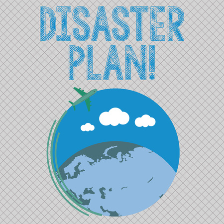 Conceptual hand writing showing Disaster Plan. Concept meaning process or set of procedures to execute organizations recovery Airplane Flying Around Colorful Globe and Blank Text Space Stock Photo