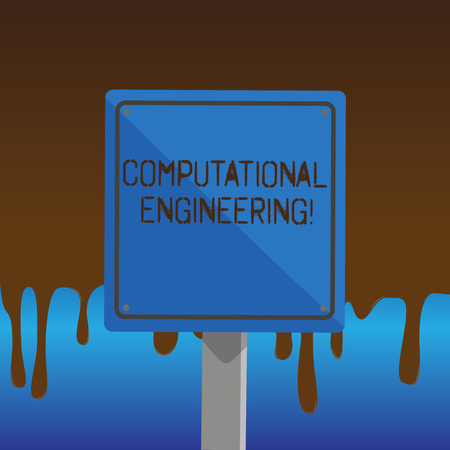 Text sign showing Computational Engineering. Business photo showcasing development and application computational models 3D Square Blank Colorful Caution Road Sign with Black Border Mounted on Wood Reklamní fotografie
