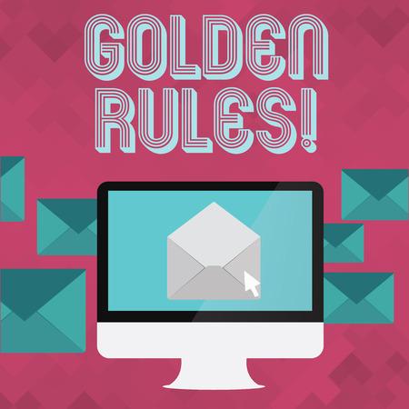 Escribir nota que muestra las reglas de oro. Se debe seguir el concepto de negocio por principio para garantizar el éxito en la actividad general.