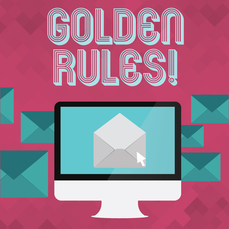 Writing note showing Golden Rules. Business concept for principle should followed to ensure success in general activity Open Envelope inside Computer Letter Casing Surrounds the PC