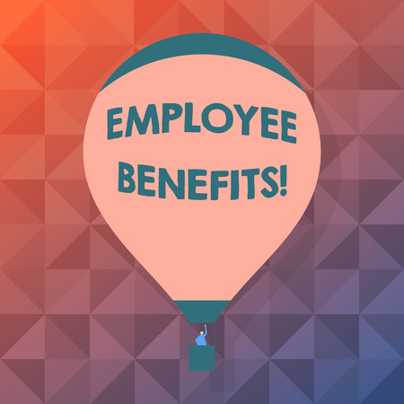 Word writing text Employee Benefits. Business photo showcasing indirect and non cash compensation paid to employee Blank Pink Hot Air Balloon Floating with One Passenger Waving From Gondola