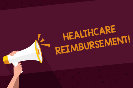 Writing note showing Healthcare Reimbursement. Business concept for compensating someone for an out of pocket expense Human Hand Holding Megaphone with Sound Icon and Text Space