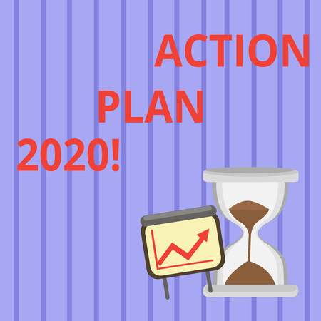 Word writing text Action Plan 2020. Business photo showcasing proposed strategy or course of actions for next year Successful Growth Chart with Arrow Going Up and Hourglass with Sand Sliding Stok Fotoğraf