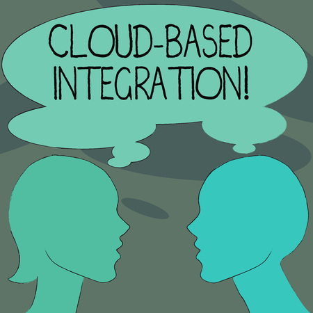 Handwriting text Cloud Based Integration. Conceptual photo tools and technologies that connects applications Silhouette Sideview Profile Image of Man and Woman with Shared Thought Bubble