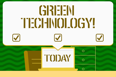 Writing note showing Green Technology. Business concept for mitigate reverse effects of huanalysis activity on environment Blank Huge Speech Bubble Pointing to the White Laptop Screen