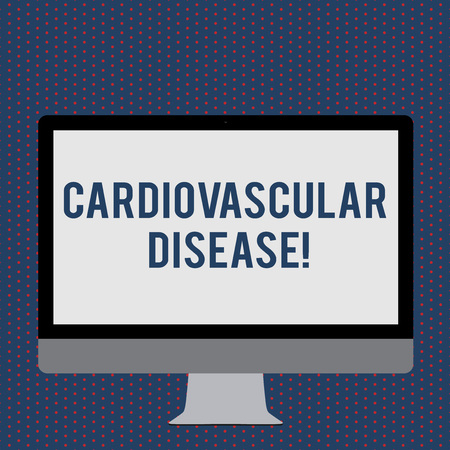 Text sign showing Cardiovascular Disease. Business photo showcasing conditions involve narrowed or blocked blood vessels Blank White Computer Monitor WideScreen Mounted on a Stand for Technology