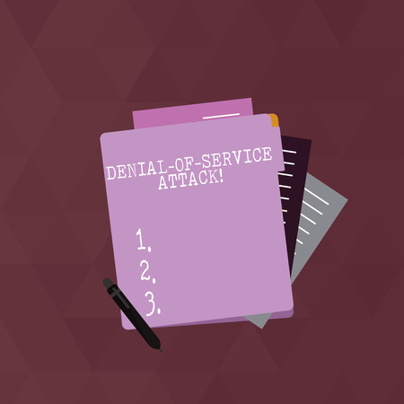 Writing note showing Denial Of Service Attack. Business concept for Attack meant to shut down a machine or network Lined Paper Stationery Partly into View from Pastel Folder