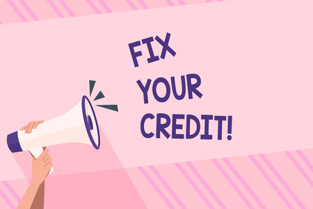 Text sign showing Fix Your Credit. Business photo text fixing poor credit standing deteriorated different reasons Human Hand Holding Tightly a Megaphone with Sound Icon and Blank Text Space