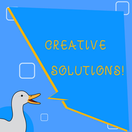 Word writing text Creative Solutions. Business photo showcasing mental process of creating unique solutions to problem photo of Duck Speaking with Uneven Shape Blank Blue Speech Balloon