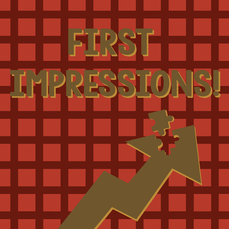 Writing note showing First Impressions. Business concept for idea feeling or opinion about something or someone Arrow Pointing Up with Detached Part Jigsaw Puzzle Piece Imagens
