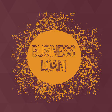 Word writing text Business Loan. Business photo showcasing creation of debt which will be repaid with added interest Disarrayed and Jumbled Musical Notes Icon Surrounding Blank Colorful Circle