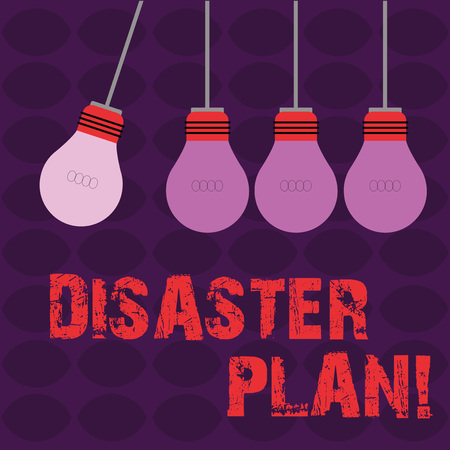 Conceptual hand writing showing Disaster Plan. Concept meaning process or set of procedures to execute organizations recovery Color Pendant Bulb Hanging with One Different Shade Lightbulb