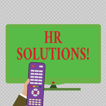 Conceptual hand writing showing Hr Solutions. Concept meaning payroll benefits hiring firing and keeping with state laws Hand Holding Remote Control infront of Wide Color PC Screen