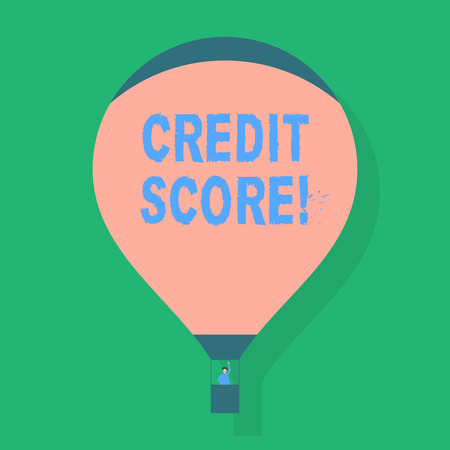 Word writing text Credit Score. Business photo showcasing numerical expression based on level analysis of demonstratings files Blank Pink Hot Air Balloon Floating with One Passenger Waving From Gondola