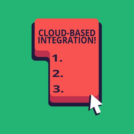 L'écriture de texte Word Intégration basée sur le cloud. Photo d'entreprise présentant des outils et des technologies qui connectent les applications Direction pour appuyer ou cliquer sur la touche de commande du clavier rouge avec curseur fléché Banque d'images