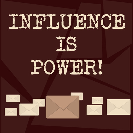 Text sign showing Influence Is Power. Business photo showcasing to have important effect on someone or something Pastel Color Closed Envelopes in Different Sizes with Big one in the Middle