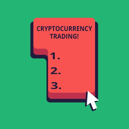 Word writing text Cryptocurrency Trading. Business photo showcasing simply the exchange of cryptocurrencies in the market Direction to Press or Click the Red Keyboard Command Key with Arrow Cursor Stock Photo
