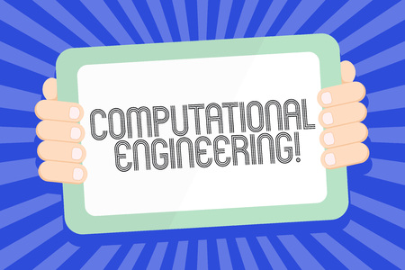 Text sign showing Computational Engineering. Business photo text development and application computational models Color Tablet Smartphone with Blank Screen Handheld from the Back of Gadget Reklamní fotografie