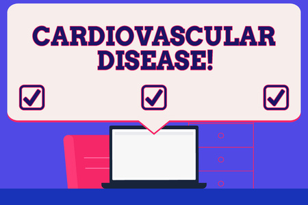 Text sign showing Cardiovascular Disease. Business photo showcasing conditions involve narrowed or blocked blood vessels Blank Huge Speech Bubble Pointing to White Laptop Screen in Workspace Idea