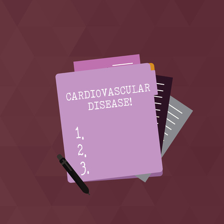 Writing note showing Cardiovascular Disease. Business concept for conditions involve narrowed or blocked blood vessels Lined Paper Stationery Partly into View from Pastel Folder