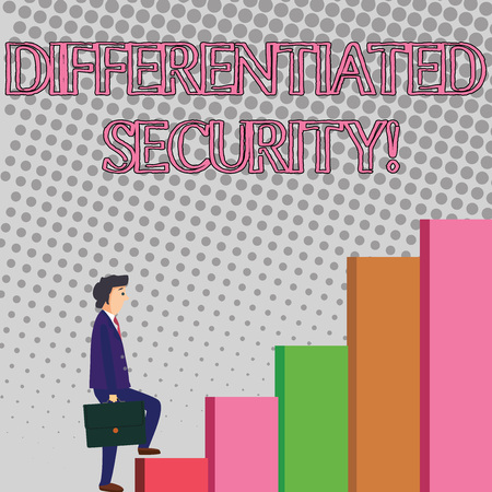 Text sign showing Differentiated Security. Business photo showcasing deploys different policies according to identity Businessman Carrying a Briefcase is in Pensive Expression while Climbing Up