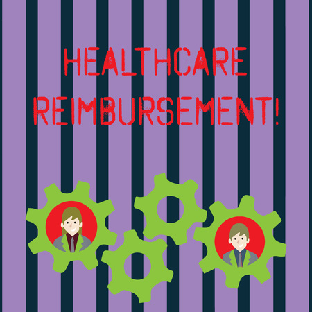 Conceptual hand writing showing Healthcare Reimbursement. Concept meaning compensating someone for an out of pocket expense Two Business People Inside Cog Wheel Gear for Teamwork Event Imagens