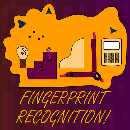 Handwriting text writing Fingerprint Recognition. Conceptual photo identifying identity individual based on his finger Set of Professional Goal Icons for Planning, Advancement and Recognition