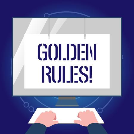 Escribir nota que muestra las reglas de oro. Se debe seguir el concepto de negocio por principio para garantizar el éxito en la actividad general Manos en el teclado Monitor blanco frontal con protector de pantalla