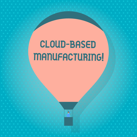 Word writing text Cloud Based Manufacturing. Business photo showcasing paradigm developed from existing advanced models Blank Pink Hot Air Balloon Floating with One Passenger Waving From Gondola 写真素材 - 120029814