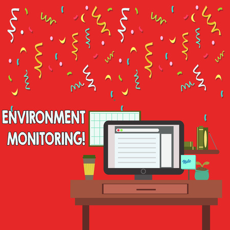 Word writing text Environment Monitoring. Business photo showcasing observing and studying conditions of the environment photo of Interior Working Space Station Concept of Technical Person
