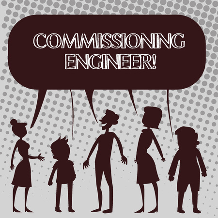 Handwriting text Commissioning Engineer. Conceptual photo ensure all aspects of building are properly designed Silhouette Figure of People Talking and Sharing One Colorful Speech Bubble