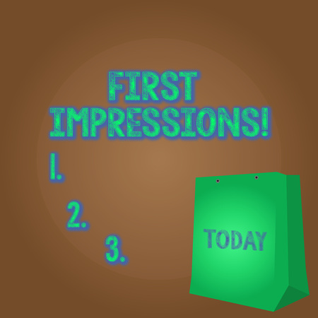 Word writing text First Impressions. Business photo showcasing idea feeling or opinion about something or someone Color Gift Bag with Punched Hole but Without Handle on Twotone Blank Space