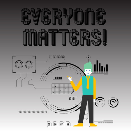 Handwriting text writing Everyone Matters. Conceptual photo means that we everyone has right equals and duties Man Standing Holding Pen Pointing to Chart Diagram with SEO Process Icons