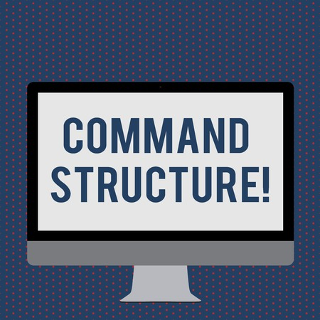 Text sign showing command Structure. Business photo showcasing something of analysisy parts that is put together Blank White Computer Monitor WideScreen Mounted on a Stand for Technology