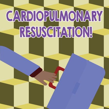Conceptual hand writing showing Cardiopulmonary Resuscitation. Concept meaning repeated cycles compression chest respiration Rushing Businessman Swayed Back and Holding Briefcase