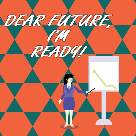 Word writing text Dear Future I M Ready. Business photo showcasing suitable state action situation being fully prepared Businesswoman Holding Stick Pointing to Chart of Arrow Upward on Whiteboard