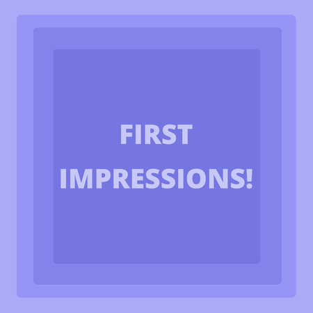Handwriting text writing First Impressions. Conceptual photo idea feeling or opinion about something or someone Pattern of Concentric Square photo in Pastel Blue with Same Center Point Banque d'images - 120030256