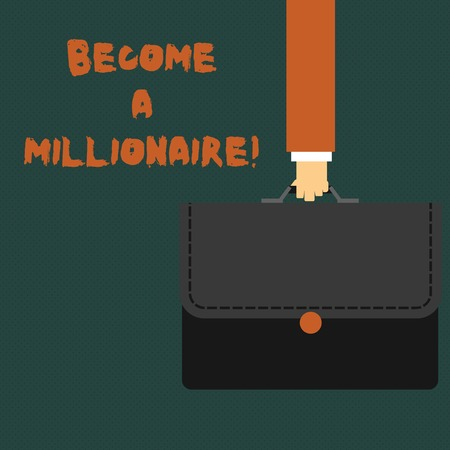 Writing note showing Become A Millionaire. Business concept for individual whose wealth is equal or exceeds one million Businessman Carrying Colorful Briefcase Portfolio Applique