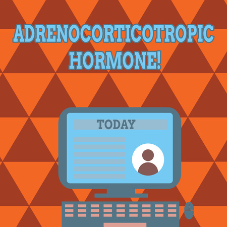 Conceptual hand writing showing Adrenocorticotropic Hormone. Concept meaning hormone secreted by pituitary gland cortex Computer Mounted on Stand with Online Profile Data on Screen Reklamní fotografie