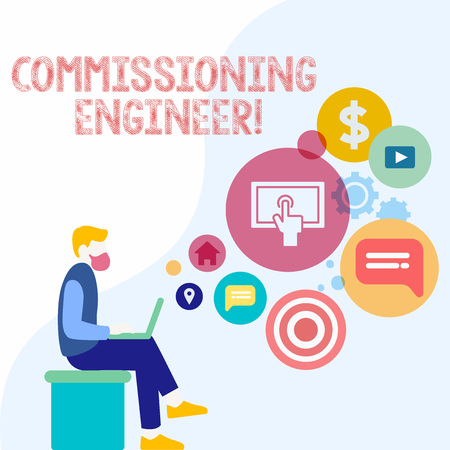 Handwriting text Commissioning Engineer. Conceptual photo ensure all aspects of building are properly designed Man Sitting Down with Laptop on his Lap and SEO Driver Icons on Blank Space Archivio Fotografico